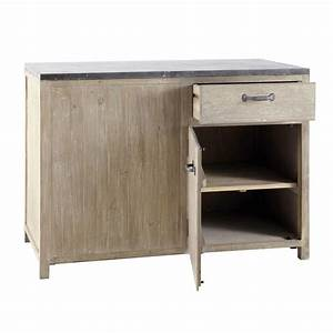 meuble bas de cuisine en bois recycle l 120 cm copenhague With meuble bas maison du monde 7 cuisine bois recycle avec plateau en pierre bleue