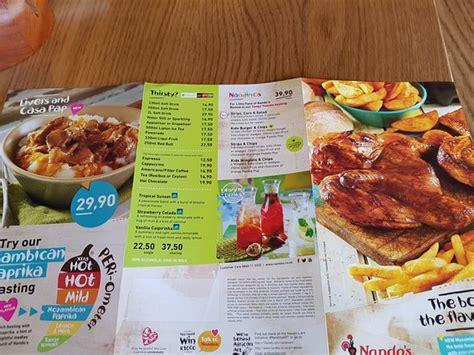 nandos menu full chicken picture  nandos bluff tripadvisor