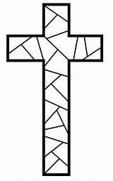 Clipart Stained Glass Cross Easter Crosses Outline Patterns Coloring Templates Clipground sketch template