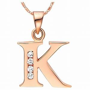 buy 18k rose gold plated letter quot k quot crystal pendant With letter k necklace rose gold