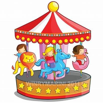 Merry Round Clipart Carousel Horse Illustration Children
