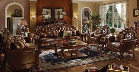 vendome  piece complete living room set  cherry finish