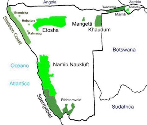 Parques Nacionales de Namibia (Mapa)