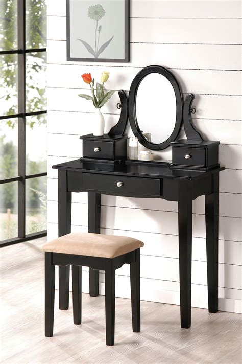 black makeup vanity beautiful bobkona collection vanity makeup table stool