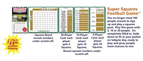 Office Football Pool Website by Football Scratch Card Squares Free Shipping