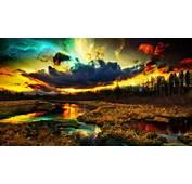Digital Art Nature River Clouds Stars Forest