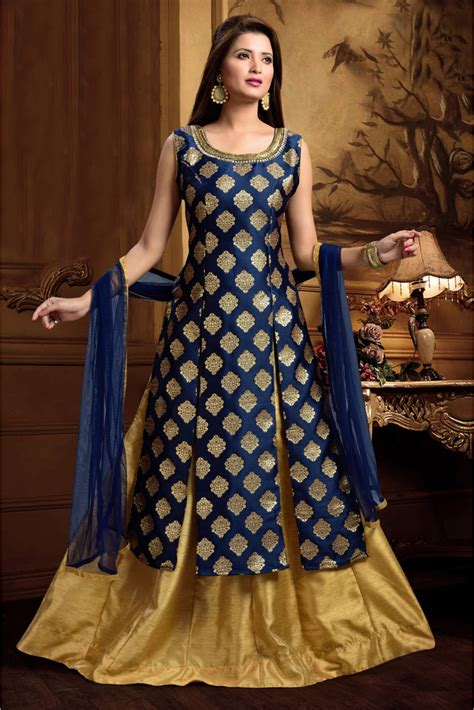 brocade party wear kurta lehenga  blue colour