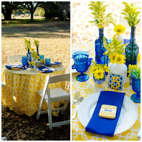 Bridal Shower Tablescapes cobalt blue and yellow tablescape pensacola wedding