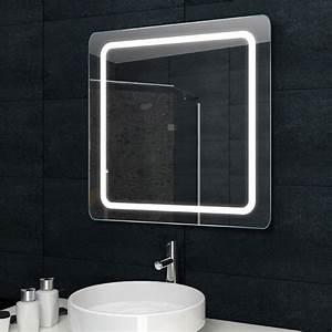 Badezimmer Beleuchtung Wand : spiegel wand badezimmer badspiegel beleuchtet beleuchtung mit led licht 60x60 cm ebay ~ Michelbontemps.com Haus und Dekorationen