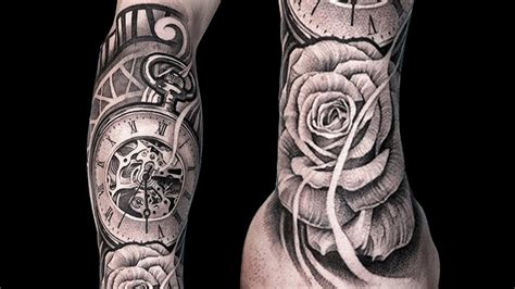 realistic shading tattoo rose  clock youtube