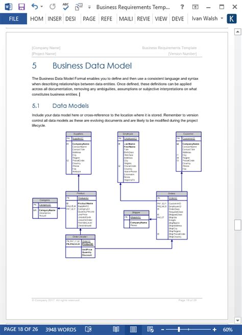 business requirements specification template ms word