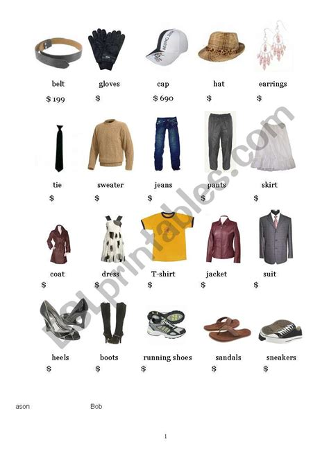clothes  prices flash card esl worksheet  catherinecun