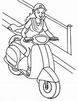 Scooter Coloring Pages Driving Lady Template Pro Getdrawings Sketch sketch template