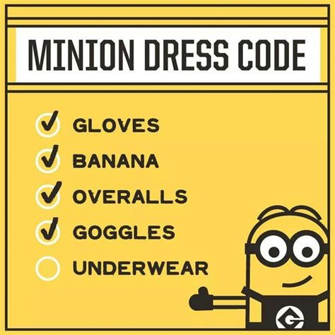 minions dress code check list minions dresscode