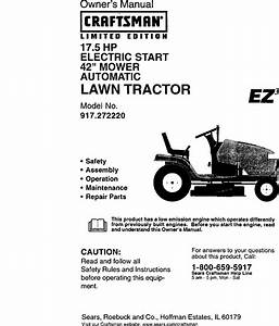 Craftsman 917272220 User Manual Lawn Tractor Manuals And Guides L0010520