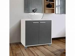 meuble sous lavabo gris pour vasque de salle de bain With rangement sous vasque salle de bain