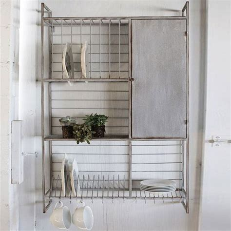 wall rack  shelves hooks iron accents
