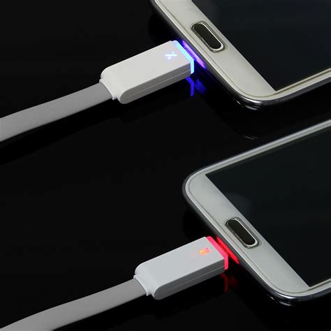 led light for phone 1m led light flat micro usb charger cable data sync cord