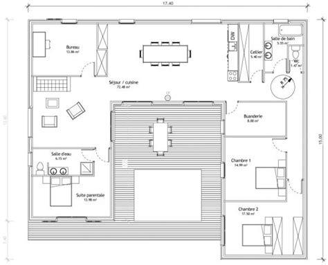 plan maison plain pied 3 chambre maison en u plans maisons