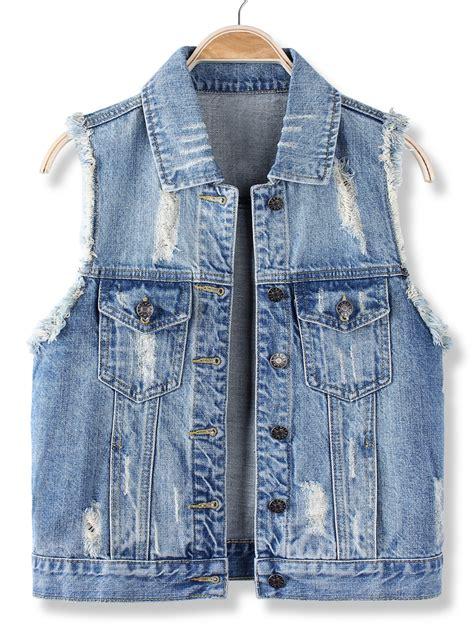 denim vest casual blue sleeveless vest jean denim jacket at