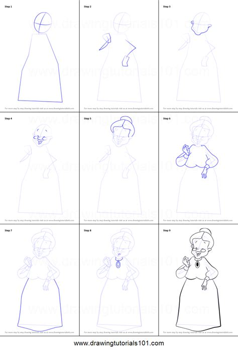 draw granny  looney tunes printable step