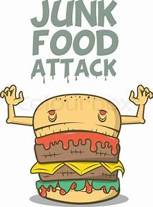 Junk Food Attack  Vector Illustration  Scary Hamburger