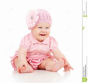Little Cute Baby-girl In Pink Dress Stock Image - Image of ...
