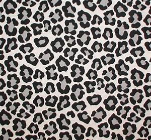 Black Gray Big Animal Print Fabric Snow Leopard White ...