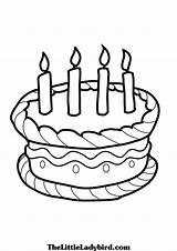 Cake Coloring Birthday Pages Cakes Colouring Drawing Line Boys sketch template