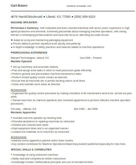 sample machine operator resume templates  ms