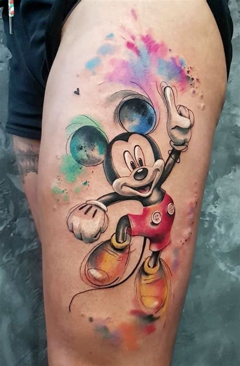 colorful mickey mouse tattoo inkstylemag