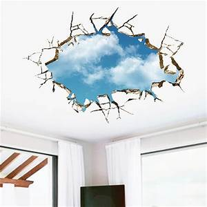 Through Wall Blue sky white clouds wall stickers removable ...
