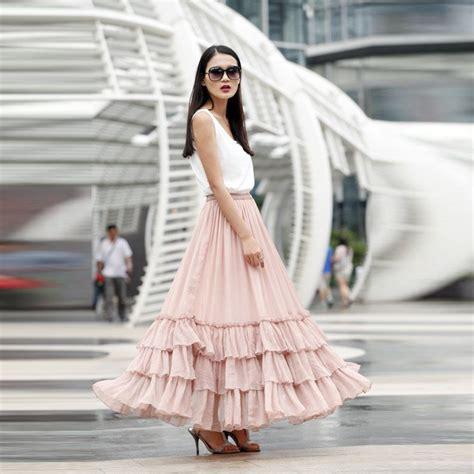 New Design Pink Long Skirt A Line Floor Length Maxi Skirt