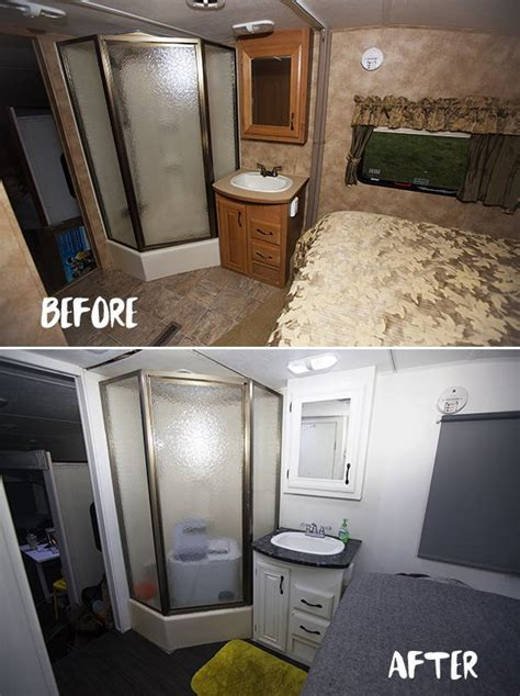 rv renovation remodeled campers toilet remodel