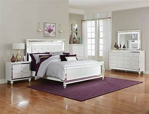 Alonza, White, Bedroom, Set, With, Led, Lighting