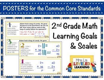 2nd Grade Math Posters With Marzano Scales  Aligned To Common Core