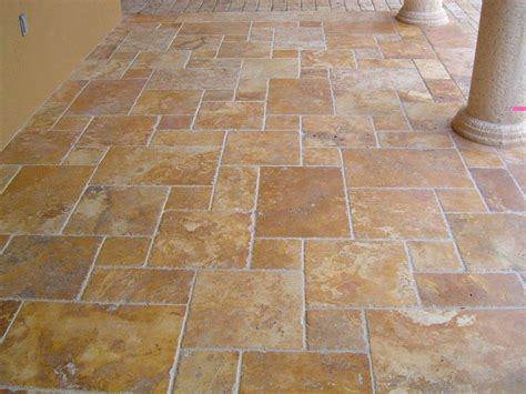 French Pattern Brushed & Chiseled Gold Travertine Tiles