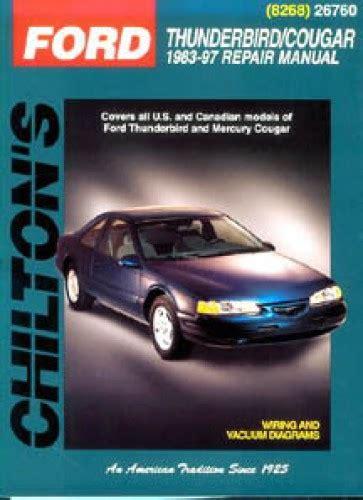 car repair manual download 2006 ford thunderbird electronic toll collection chilton ford thunderbird mercury cougar 1983 1997 repair manual