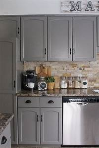 Gray kitchen cabinetspendants light grey kitchen for Best brand of paint for kitchen cabinets with glass wall art for sale