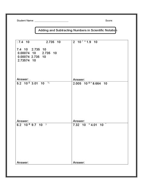 free printable math worksheets scientific notation
