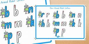 one armed robot letters formation display poster foundation With robot letters handwriting