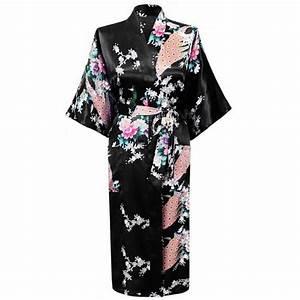 Kimono Long Femme : honofash kimono japonais en satin 1 2 manches luxueux et ~ Farleysfitness.com Idées de Décoration