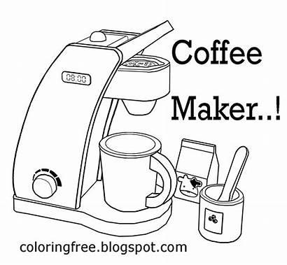 Coffee Tea Coloring Maker Printable Kitchen Chocolate