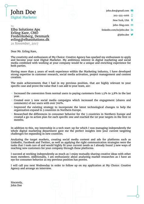 Cover Letter Layout For Job Application - Sample Cover Letter Layout