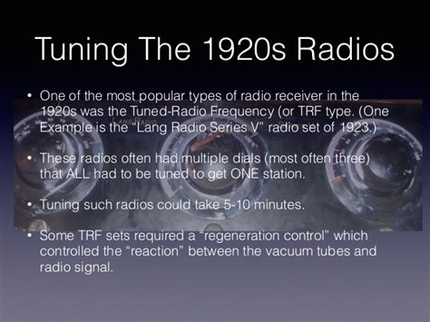 Household Radio Sets In The 1920s