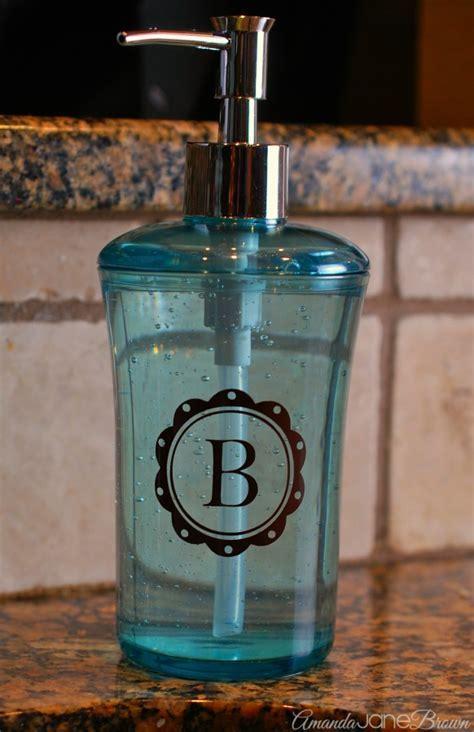 Monogrammed Soap Dispenser Gift Idea   Amanda Jane Brown