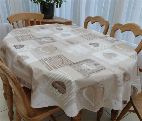 wipe clean table cloth oval wipe clean tablecloth beige wooden heart the