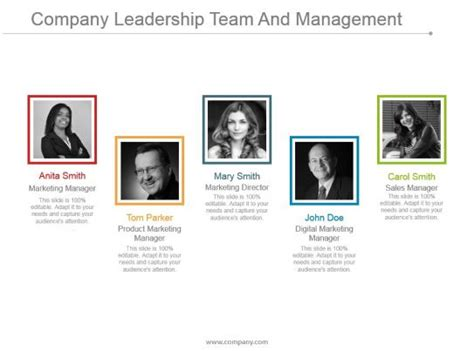 company leadership team  management  examples