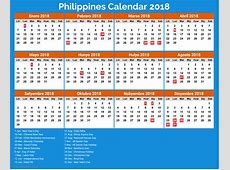 Calendar 2018 Philippines with holidays free download