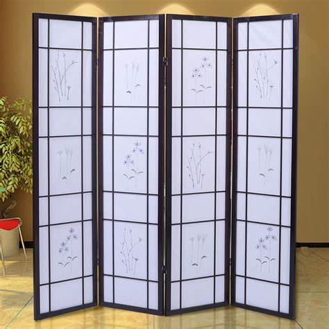 4 Panel Flowered Room Divider Screen Style Shoji Solid
